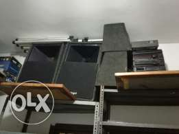 Speakers, amplifier, mixer and projector