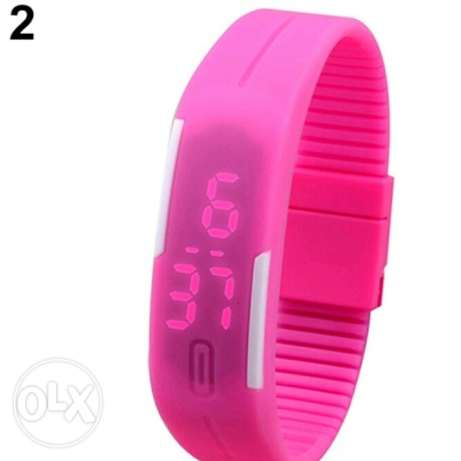 Men's Women's Silicone Red LED Sports Bracelet Touch Watch 5000L.L حارة حريك -  4