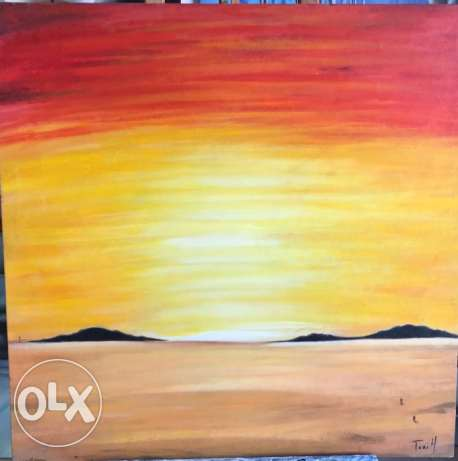 Nice simple desert Oil Painting piece for sale.