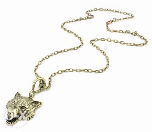 Game Of Thrones Stark Wolf Head Pendant necklace الدورة -  2