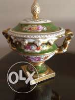 Portuguese covered urn with gilt handles and gilt square base