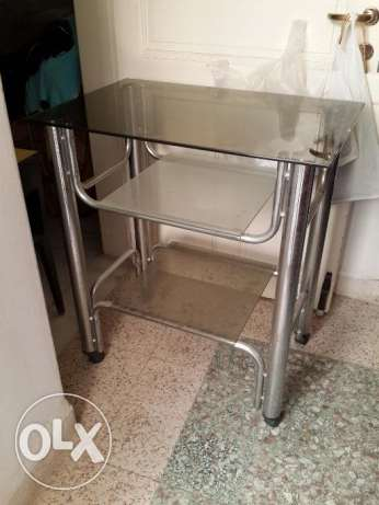 TV Table Stainless And Glass Bronze