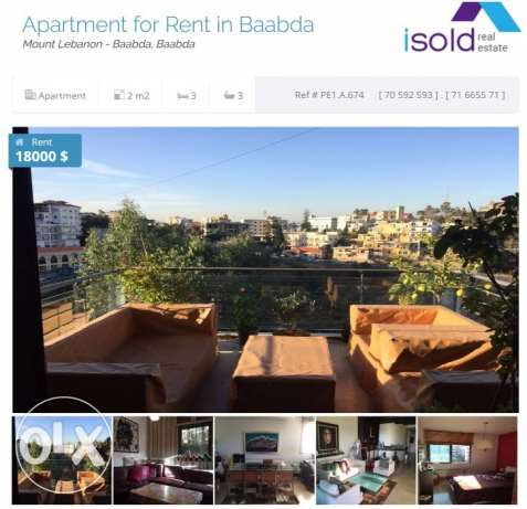 Ref (PE1.A.674), 200 m2 furnished apartment for rent in Baabda