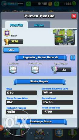 Clash Royale 4092 with Rename possible. Lvl 11.Negotiable