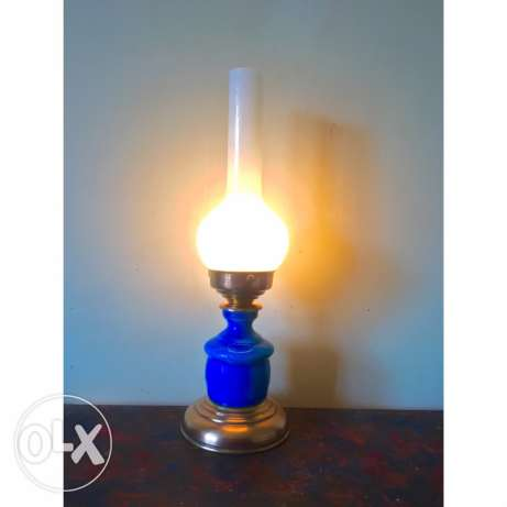copper and opaline antique lamp n7as