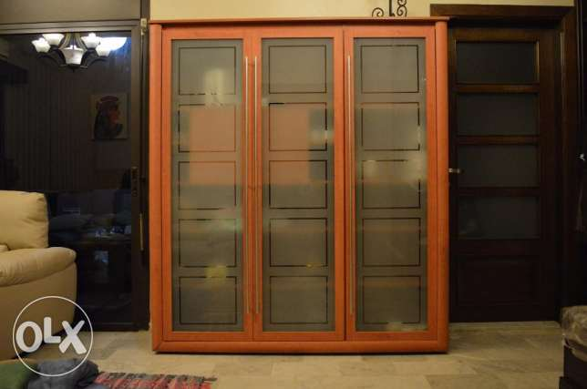 cabinet storage cupboard vitrine three doors wood and glass