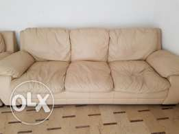 REDUCED PRICED! Real leather beige salon
