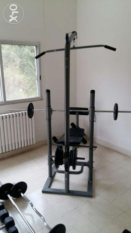 Retractable Bench press and lat pull along with leg curls