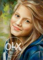 We draw your portrait on canvas