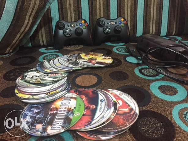 2 controller xbox 360 and 20 cd