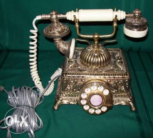vintage imperial french victorian style brass rotary dial telephone