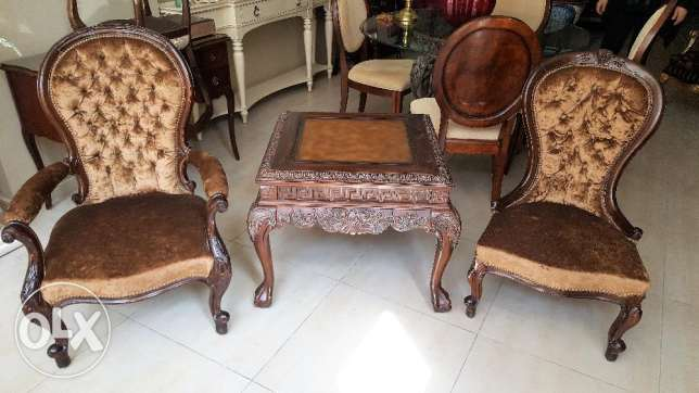CANADIAN FURNITURE- 2 Antique Chairs With Table.
