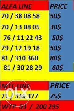 4 sale special numbers