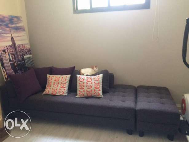 L shaped couch dividable into 3 pieces