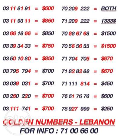 Special Numbers For Sale