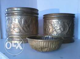 Paire Copper Pots, hand made decorated, each 15$