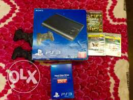 PS 3 + 2 controllers with 2 charger + 3 games + 250gb hard disk