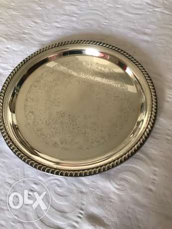 Round silver plated serving plate for sale