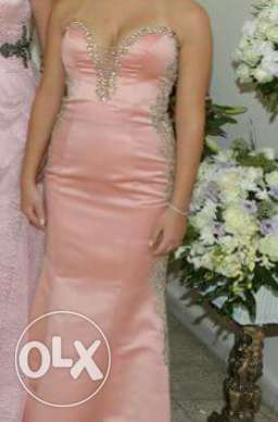 A light pink dress designed in gold and pearl .