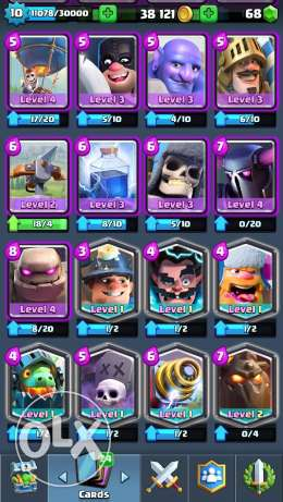 Clash royal level 10 +coc account th 8 and builder hall level 3