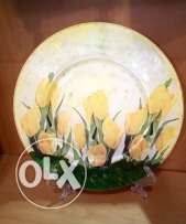 Hand painted flower plate