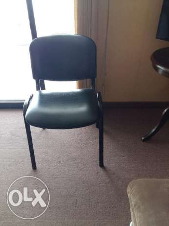 3 Black Leather Chairs