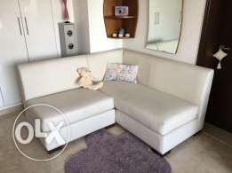 L Shaped White Leather Sofa