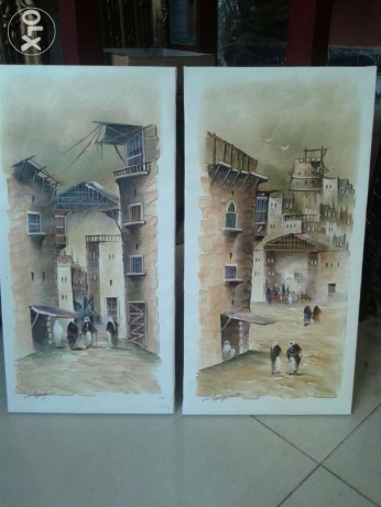 2 peices oil painting