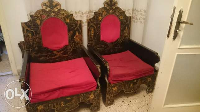 Antique Salon 5 single seat sofas with one 3 seats and three tables فردان -  2