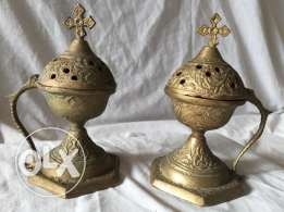 Vintage copper incense burner pair designed and carved with a cross