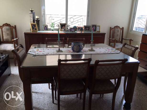 table + 8 chairs + buffet table