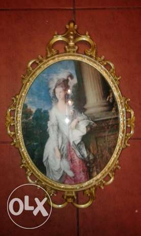 vintage copper framed glass + photo made in italy 40cm