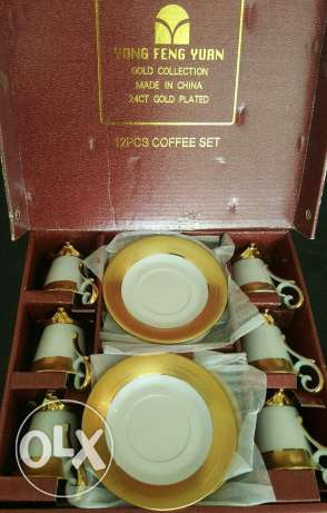 Coffee set Gold collection#24 CT Gold plated#new not used#for 120$ زلقا -  3