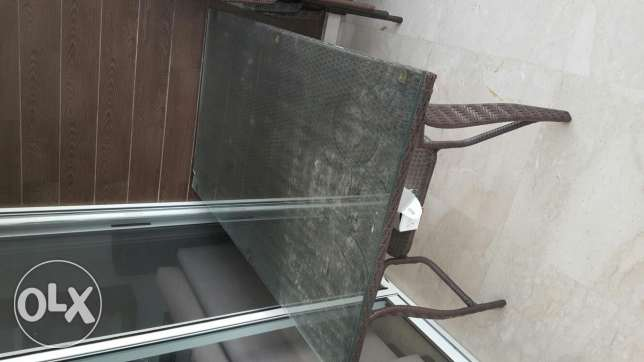 Rezine table with 6 chairs