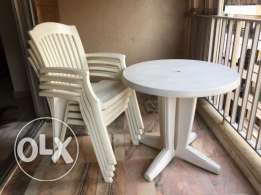Plastic Chairs with Table