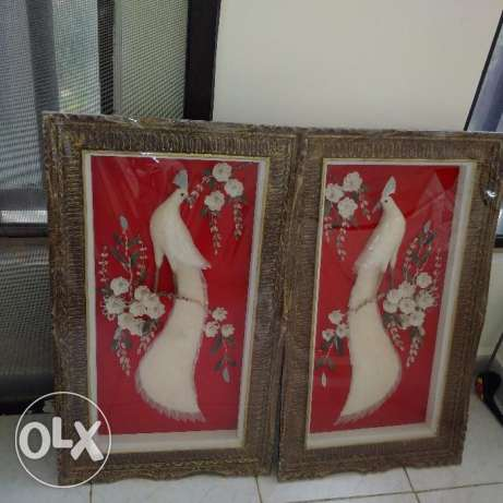 2 pieces of antique board sculture in 3D