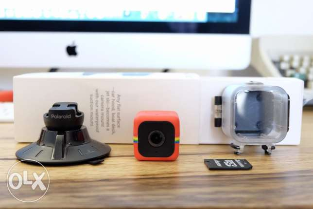 Polaroid Cube + Waterproof Case + Suction Mount + MicroSD card