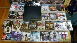 phillips tv + playstation 3 slim + 25 games + remote with charger