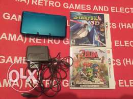 nintendo 3ds with 2 boxed games