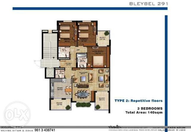 3 Bedrooms Apartment Deluxe specifications 1250/$/SQM mountain view