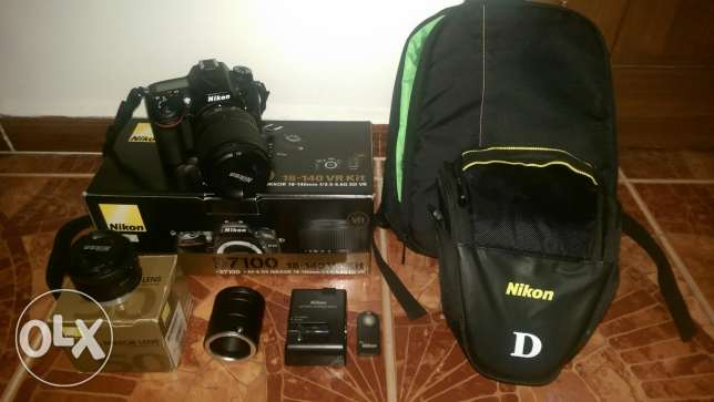 Nikon D7100+2 lenses+accessories