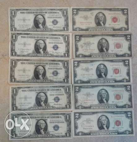 Set of 10 old US Banknotes