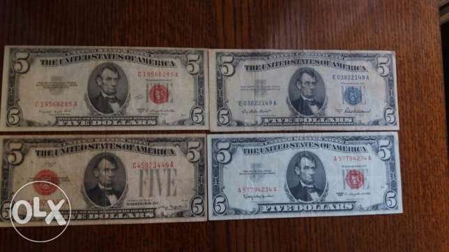 Old Five Dollars Set of 5