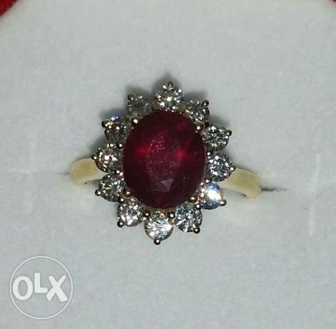 Burma ruby ring with natural diamonds
