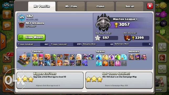 Clash of clans Th11 base for sale انطلياس -  2