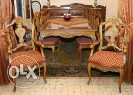 Dressoir and table and 10 chairs Louis XV style