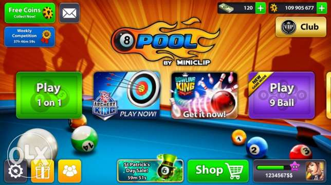 8 ball pool coins / account