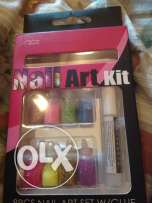 Nail Art glitter kit with glue and stick and many colored glitter NEW