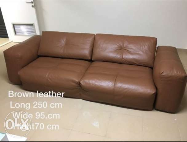 Brown leather sofa رابية -  1