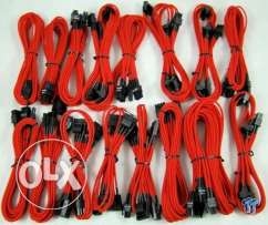 Pc Red Sleeved Cable Kit For Psu